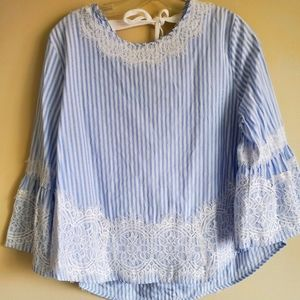 Bluenotes Striped Top Bell Sleeve Tied Back Sz XL